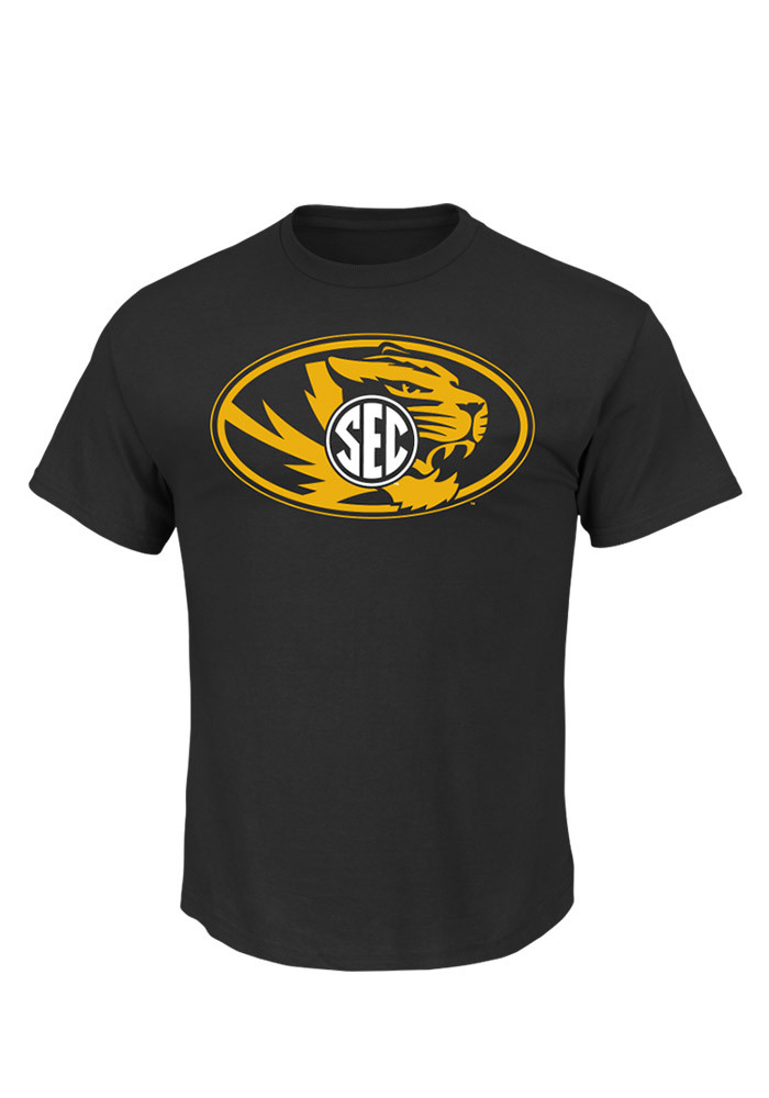 Majestic Missouri Tigers Mens Black Conference Standard Short Sleeve T Shirt - Image 1
