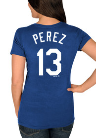 Salvador Perez Majestic Kansas City Royals Womens Blue Hispanic Heritage Player Tee