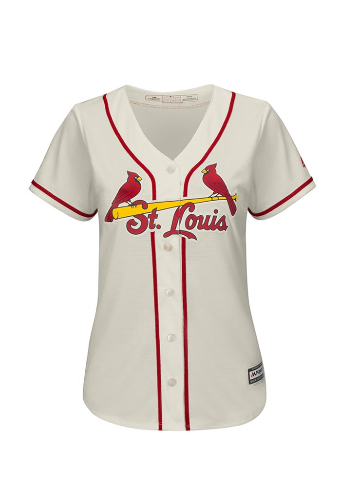 St Louis Cardinals Womens Majestic Replica Cool Base Replica Jersey - Ivory - Image 1