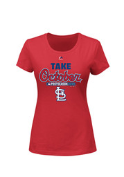 Majestic St Louis Cardinals Womens Post Season Clinch Red T-Shirt