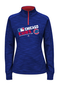 Chicago Cubs Womens Majestic Majestic 1/4 Zip - Blue