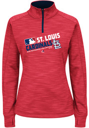 St Louis Cardinals Womens Majestic Majestic 1/4 Zip - Red