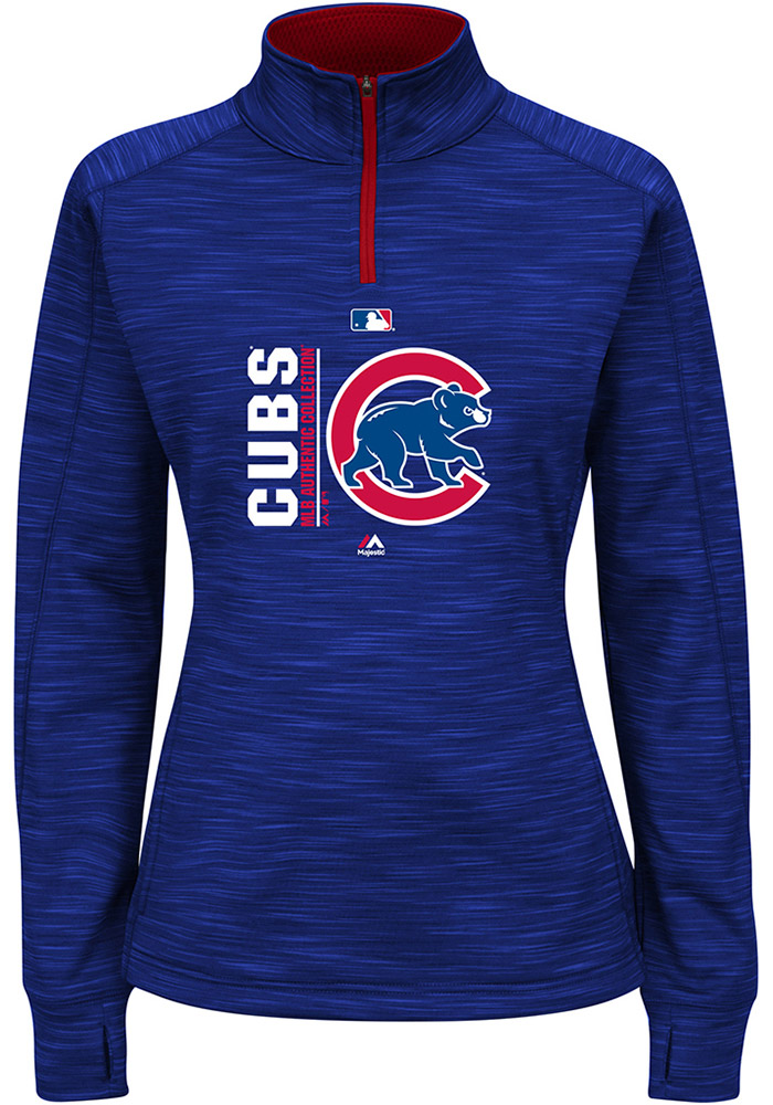 Majestic Chicago Cubs Womens Blue Streak Fleece 1 4 Zip Pullover - Image 1 ff1d05f4a