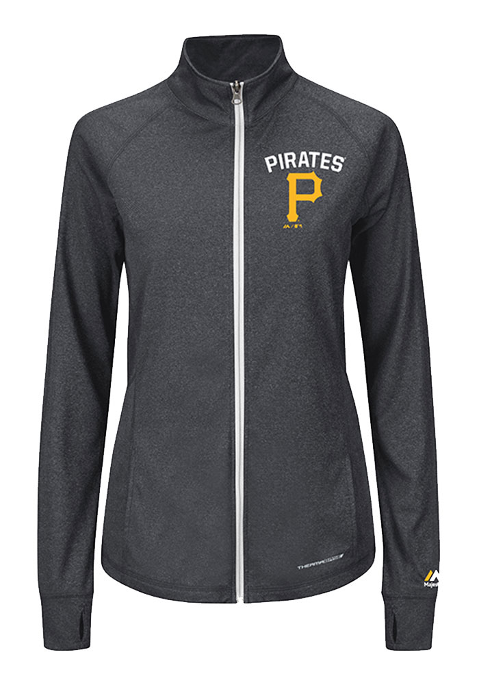 Majestic Pittsburgh Pirates Womens Grey Count The Wins Long Sleeve Full Zip Jacket - Image 1