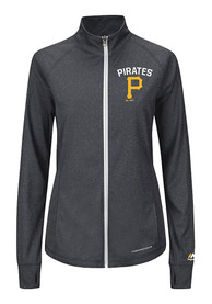 Pittsburgh Pirates Womens Majestic Count The Wins Full Zip Jacket - Charcoal