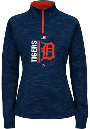 Majestic Detroit Tigers Womens Streak Fleece Navy Blue 1/4 Zip Performance Pullover