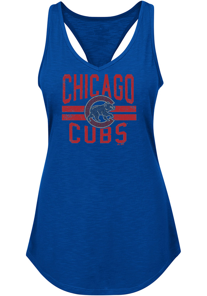 Majestic Chicago Cubs Womens Blue Four Seamer Tank Top - Image 1