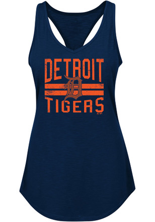 Majestic Detroit Tigers Womens Navy Blue Four Seamer Tank Top