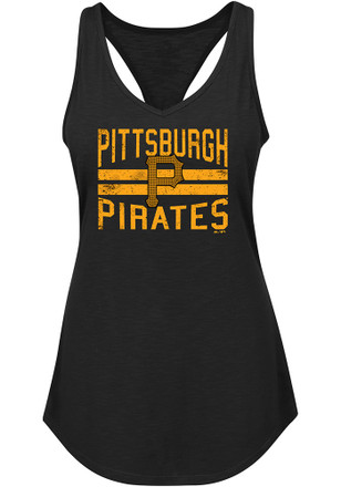 Majestic Pittsburgh Pirates Womens Black Four Seamer Tank Top