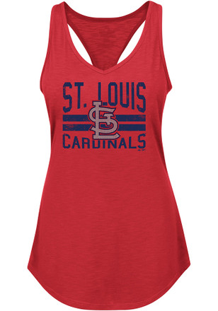 Majestic St Louis Cardinals Womens Red Four Seamer Tank Top
