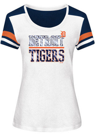 Majestic Detroit Tigers Womens Overwhelming Victory White Scoop T-Shirt