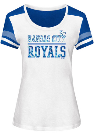 Majestic KC Royals Womens Overwhelming Victory White Scoop T-Shirt