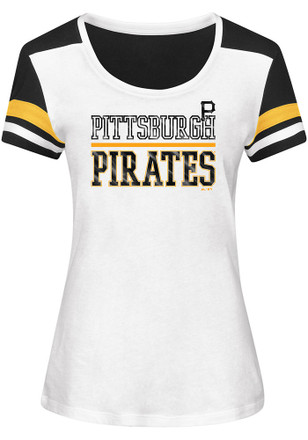 Majestic Pitt Pirates Womens Overwhelming Victory White Scoop T-Shirt