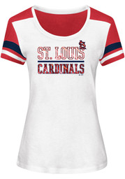 Majestic St Louis Cardinals Womens Overwhelming Victory White Scoop T-Shirt