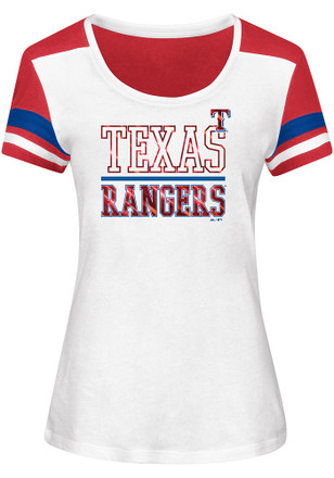 Majestic Texas Rangers Womens Overwhelming Victory White Scoop T-Shirt