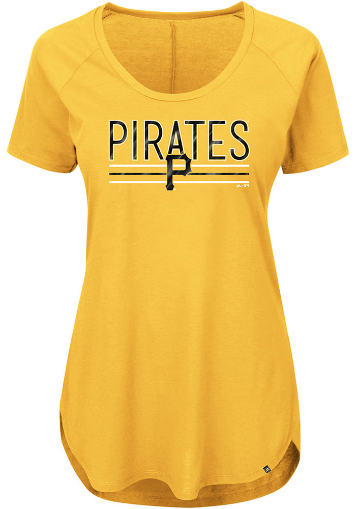 Majestic Pittsburgh Pirates Womens Gold Tough Decision Scoop T-Shirt - Image 1