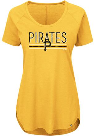 Majestic Pitt Pirates Womens Tough Decision Gold Scoop T-Shirt