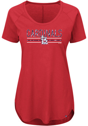Majestic STL Cardinals Womens Tough Decision Red Scoop T-Shirt