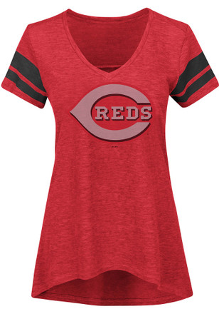 Majestic Cincinnati Reds Womens Red Check The Tape V-Neck