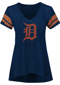 Majestic Detroit Tigers Womens Navy Blue Check The Tape V-Neck