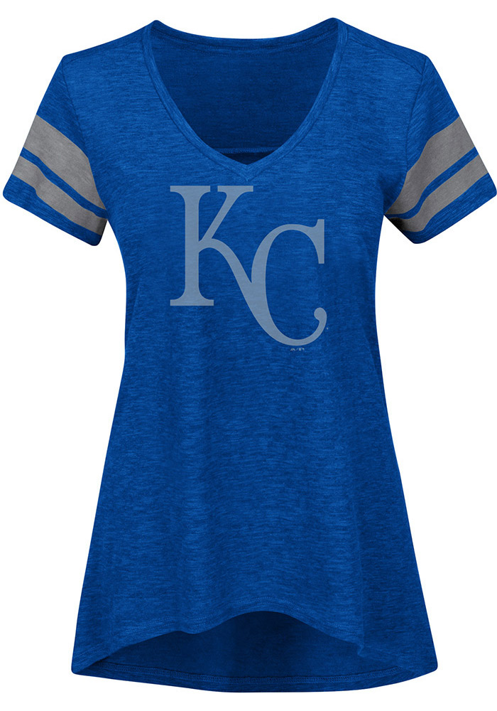 Majestic Kansas City Royals Womens Blue Check The Tape V-Neck T-Shirt - Image 1