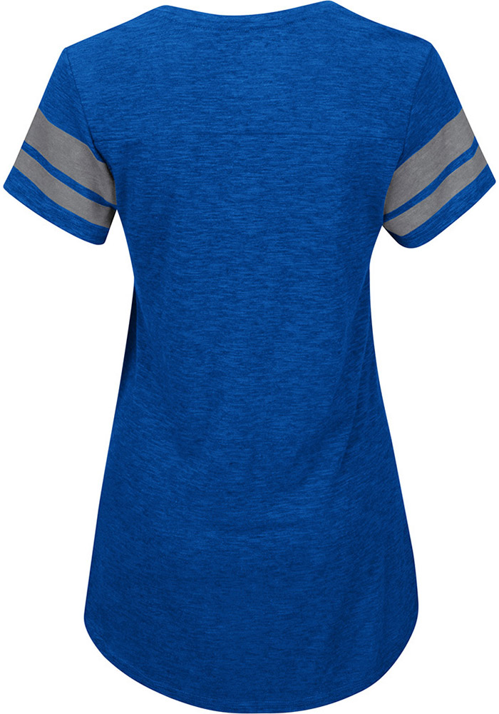 Majestic Kansas City Royals Womens Blue Check The Tape V-Neck T-Shirt - Image 2