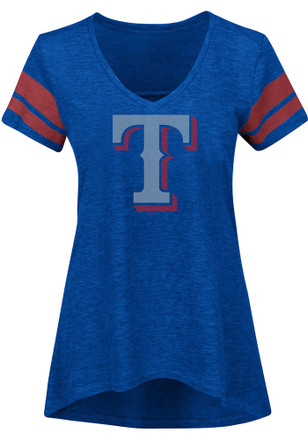 Majestic Texas Rangers Womens Blue Check The Tape V-Neck