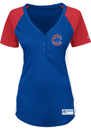 Chicago Cubs Womens Majestic League Diva Fashion Baseball Jersey - Blue