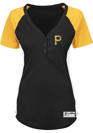 Majestic Pitt Pirates Womens Black League Diva V-Neck