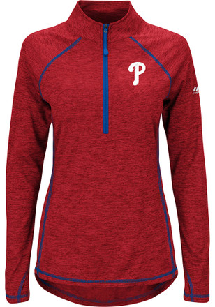 Majestic Phillies Womens Don't Stop Trying Red 1/4 Zip Performance Pullover