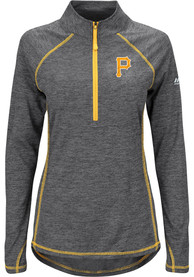 Majestic Pitt Pirates Womens Don't Stop Trying Black 1/4 Zip Pullover