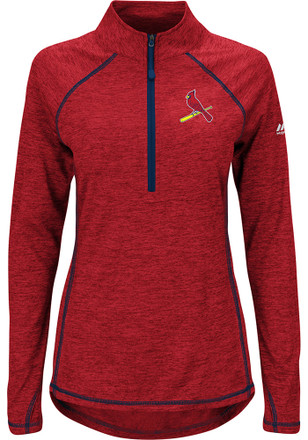Majestic STL Cardinals Womens Don't Stop Trying Red 1/4 Zip Performance Pullover
