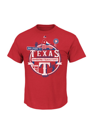 Majestic Texas Rangers Mens Red State Flag Tee