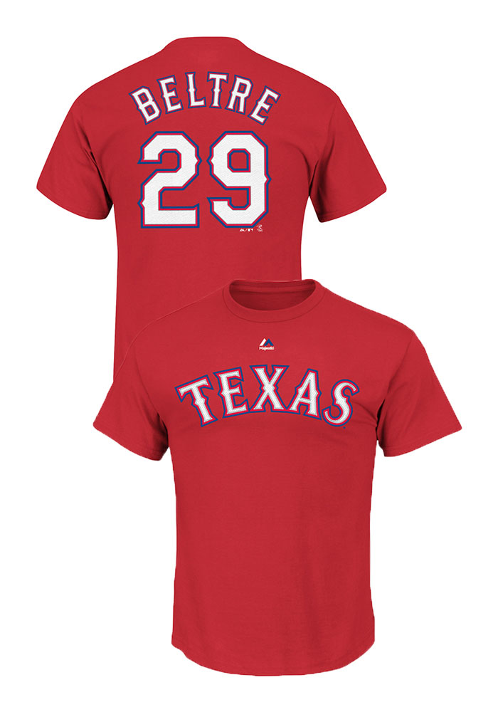 Adrian Beltre Texas Rangers Mens Red Name and Number Short Sleeve Player T Shirt - Image 1