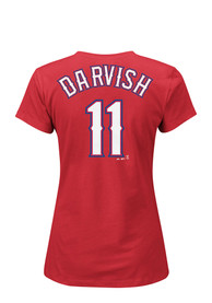 Yu Darvish Majestic Texas Rangers Womens Red Name and Number Player Tee