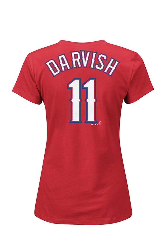 Yu Darvish Texas Rangers Womens Red Name and Number Player T-Shirt - Image 1