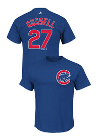 Addison Russell Chicago Cubs Blue Name and Number Player Tee