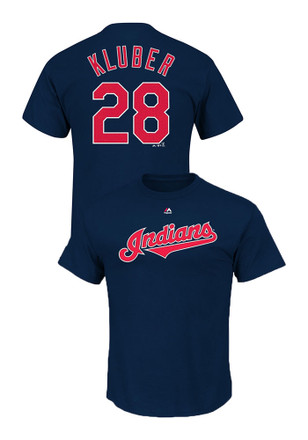 Corey Kluber Cleveland Indians Mens Navy Blue Name and Number Player Tee