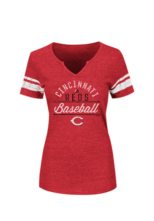 Majestic Cincinnati Reds Womens Red Goals are Golden V-Neck