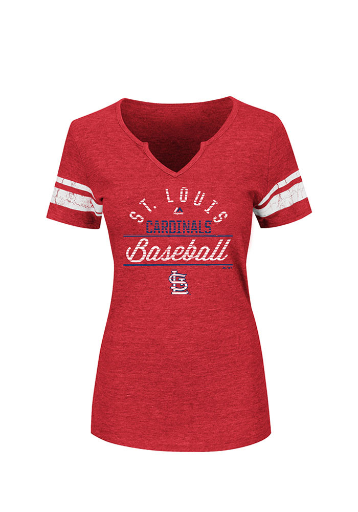 Majestic St Louis Cardinals Womens Red Goals are Golden V-Neck T-Shirt - Image 1