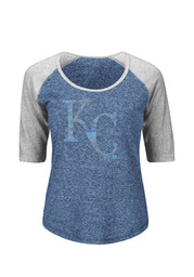 Majestic Kansas City Royals Womens Athletic Greatness Blue Scoop T-Shirt