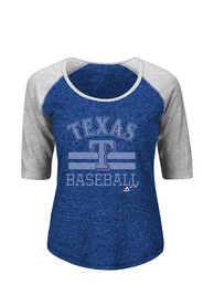 Majestic Texas Rangers Womens All in for the Win Blue Scoop T-Shirt