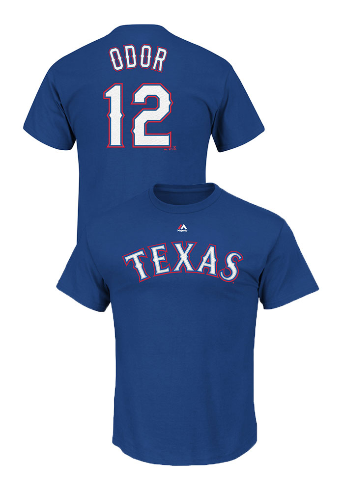 Rougned Odor Texas Rangers Mens Blue Name and Number Short Sleeve Player T Shirt - Image 1