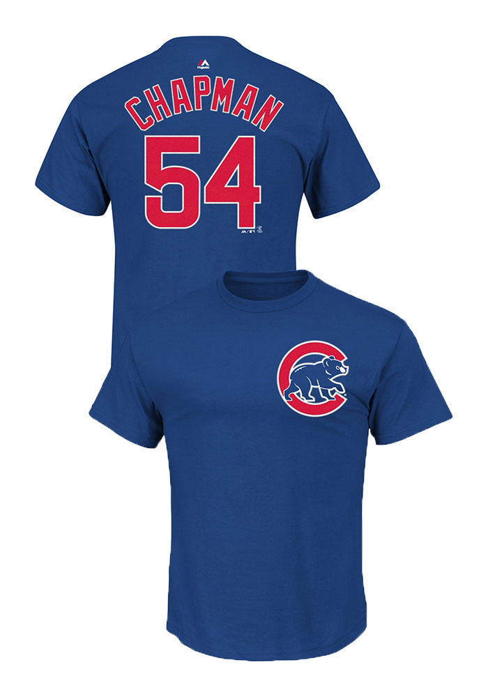 Aroldis Chapman Chicago Cubs Mens Blue Name and number Short Sleeve Player T Shirt - Image 1