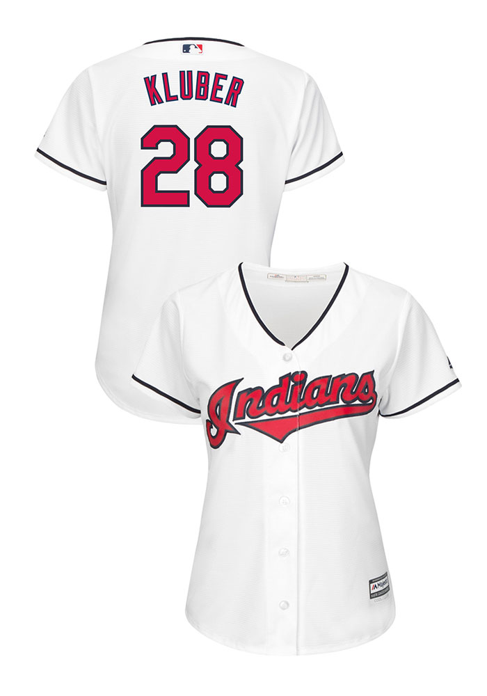 Corey Kluber Cleveland Indians Womens Replica Cool Base Home Jersey - White - Image 1