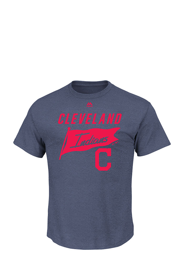 Majestic Cleveland Indians Mens Navy Blue Again Next Year Short Sleeve T Shirt - Image 1