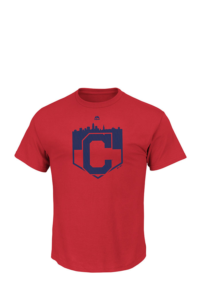 Majestic Cleveland Indians Mens Red Pass Through Short Sleeve Fashion T Shirt - Image 1