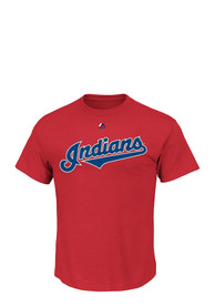 Majestic Cleveland Indians Red Wordmark Tee
