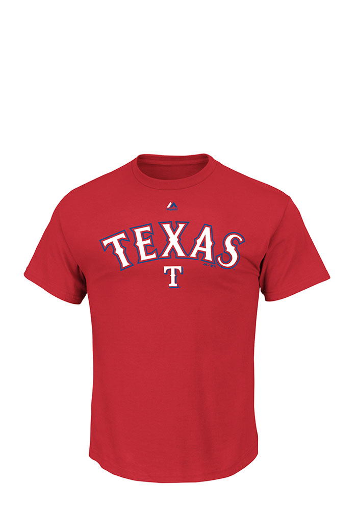 Majestic Texas Rangers Mens Red Series Sweep Short Sleeve Fashion T Shirt - Image 1