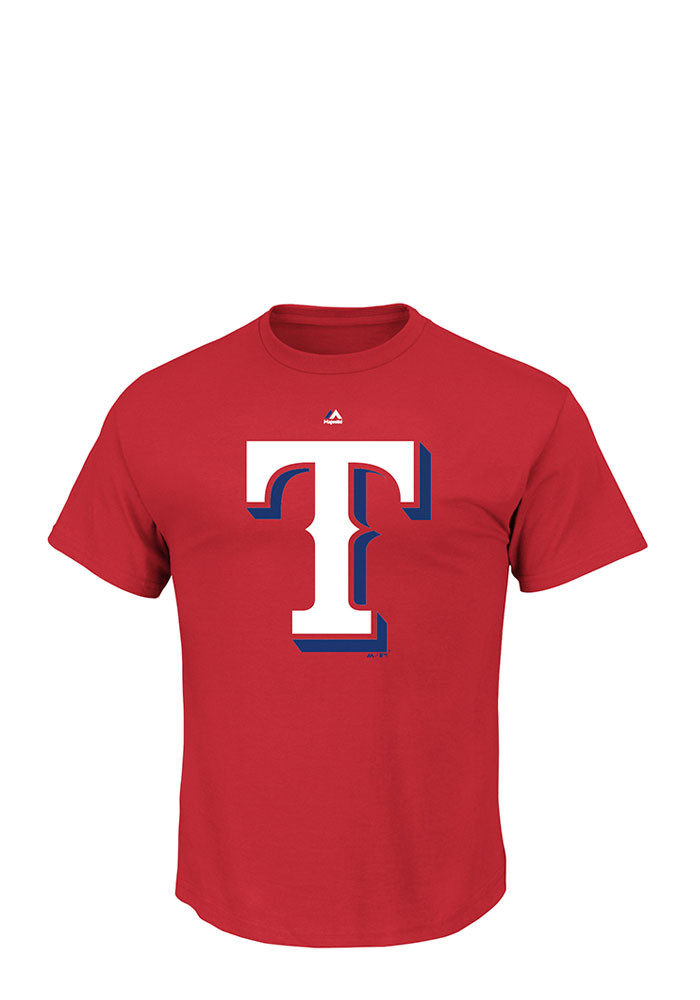 Majestic Texas Rangers Mens Red Official Logo Short Sleeve T Shirt - Image 1